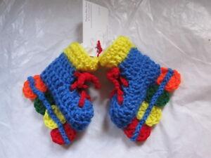 Роликах детские пинетки 0-6 мес ручная работа крючком синий многоцветный душ подарок