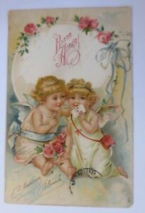 034-New-Year-Angel-Roses-Letter-034-1907-Embossed-Postcard