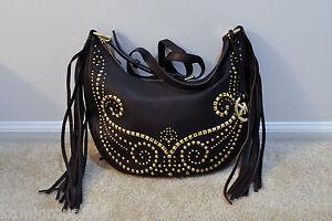 b38ad76f9008 Image is loading NWT-Michael-Kors-Rhea-Studded-Leather-Small-Shoulder-