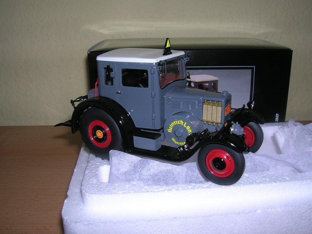 Schuco Lanz Eilbulldog con Cabaña Gris Modelo de Resina Tractor 1 3 2