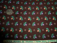 """Cotton Fabric Vintage Crantex Cranston Calico Tiny Floral on Warm Brown 2 Y 13"""""""