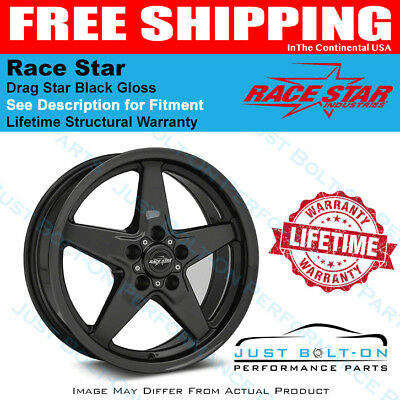 Race Star 92 Drag Star Bracket Racer 17x9.5 5x115BC 6.125BS Gloss Black Wheel