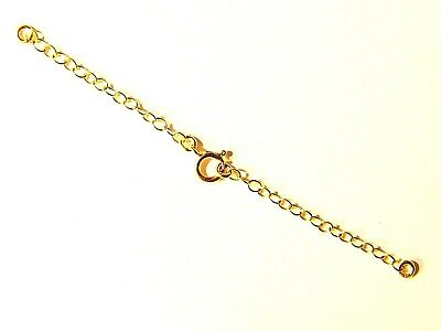 Bracelet extension  safety chain two 6 mm Bolt Rings Clasps 9 ct Gold Necklace
