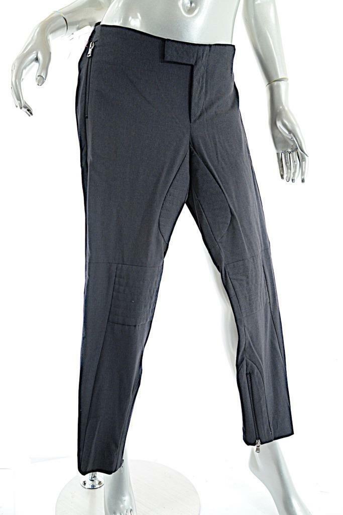 BRUNELLO CUCINELLI Charcoal Wool Blend Jodhpurs Style Crop Pant w Zip Trim  US8