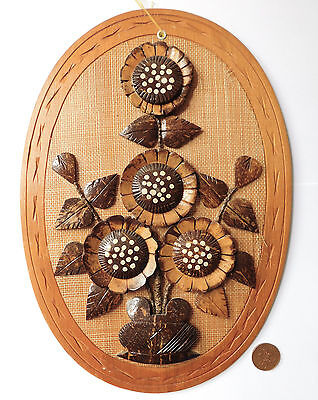 "Flower collage wall plaque vintage coconut picture ethnic folk art craft 13"" c"