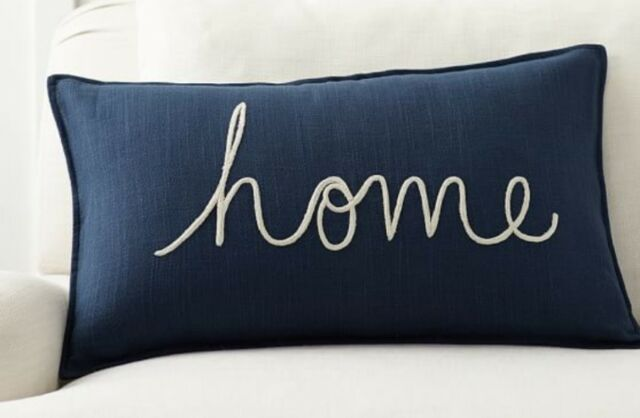 Pottery Barn~Home lumbar Pillow Cover~16 x 26~SOLD OUT!!!~Blue NEW