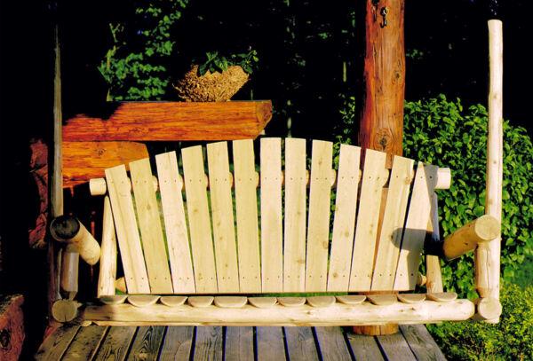 Lakeland Mills 5-Foot Cedar Log Porch Swing, Natural For