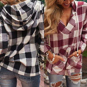 Fashion-Women-Plaid-Blouse-T-Shirts-Casual-Long-Sleeve-Jumper-Tops-Pullover-D8Y