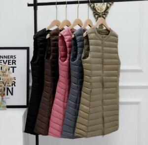Ladies Down Vest Round Collar Waistcoat Down Long Sleeveless Jacket Women Veset