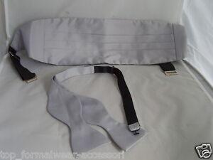 Silver-GREY-Self-tie-Bow-Tie-and-Cummerbund-Instruct-FREE-P-amp-P-2UK-gt-1st-Class