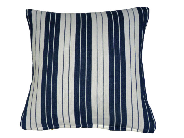 "Sofa Scatter 16""  White Blue STRIPE Cushion Covers Cotton Fault Clearance Sale"