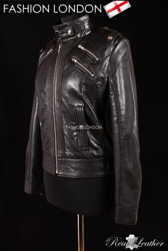 'ROSY' Ladies Black Cool Stylish Girls Slim Fitting Real Leather Jacket