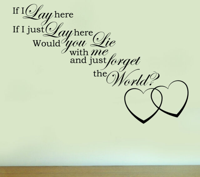 SNOW PATROL CHASING CARS LYRICS Quote Vinyl Wall Art Sticker Decal Music Medium