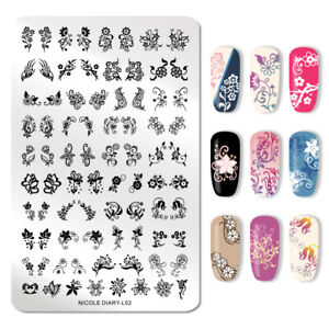 Details about NICOLE DIARY Nail Art Stamping Template Flowers Nail Printing  Plates Stencil L02