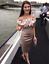 Karen-Millen-Champagne-Bardot-Satin-Pencil-Wedding-Party-Dress-Prom-6-to-16-New thumbnail 2