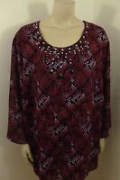Maggie Barnes Decorate Front 3/4 Sleeve Top Woman Plus Size 3x 26/28w