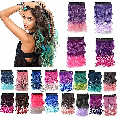 Ombre Gradient Hair Curly Long Hair Hairpieces Clip in Synthetic Hair Extensions