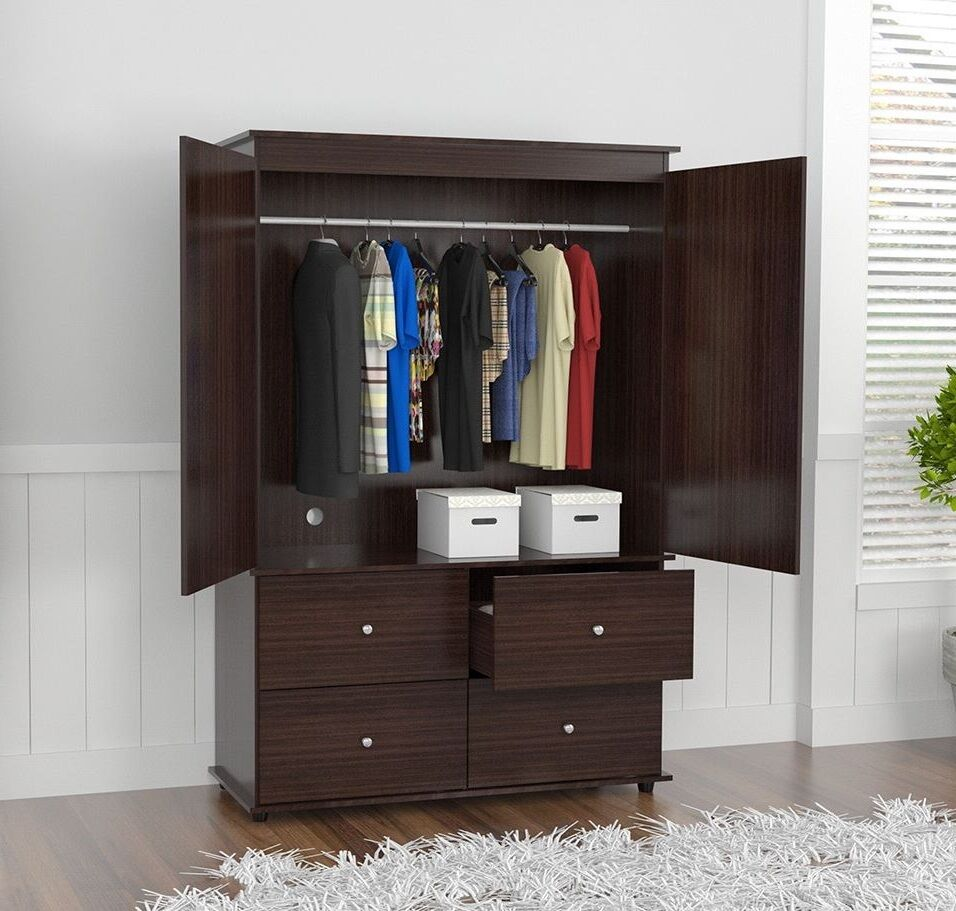 wardrobe closet bedroom armoire 4 drawer 2 door furniture. Black Bedroom Furniture Sets. Home Design Ideas