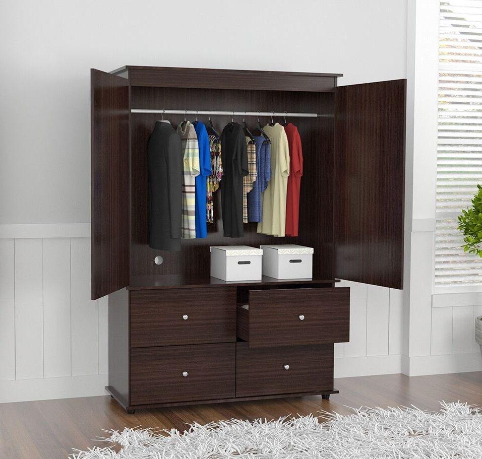 Sensational Wardrobe Closet Armoire With 4 Drawer 2 Door Bedroom Furniture Organizer Brown Beutiful Home Inspiration Ommitmahrainfo