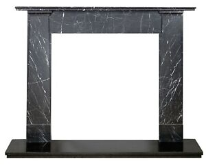 Contemporary Black Marble Fireplace, Black Marble Fire Surround