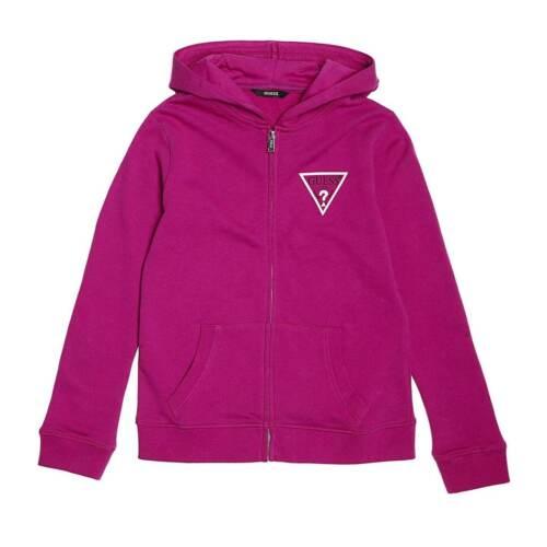 Kids Girls Guess Zip Up Fleece Hoodie Long Sleeve New