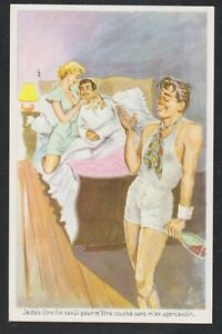 Gay drunk man cuckold and couple in bed comic old postcard