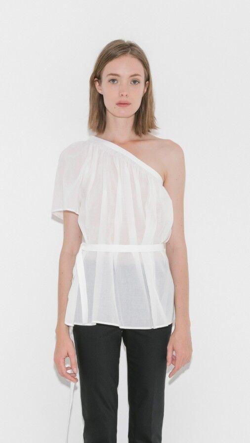 Helmut Lang Asymmetric Top One Sleeve Sash Blouse Sz L NWT