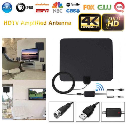 Ultra Thin Flat HDTV Amplified HD TV Signal Antenna 16Feet Coax 200 Mile Black