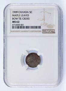 1909-Canada-5C-Maple-Leaves-Bow-Tie-Cross-Graded-by-NGC-as-MS62