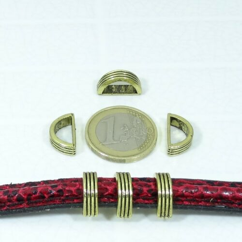 30 Abalorios Para Cuero Media Caña 15mm T31A Plata Tibetana Perles Perline