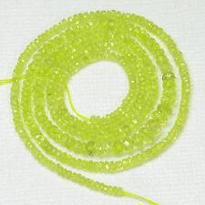 """2mm-4mm Vibrant Golden Green CHRYSOBERYL Faceted Rondelle Beads 17"""" Strand"""