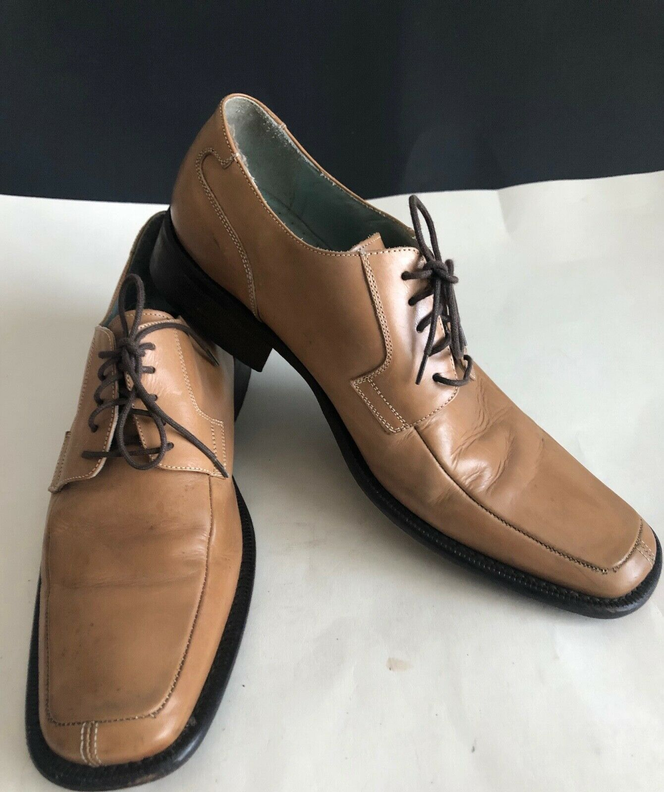 Mens Kenneth Cole Dress Shoes Leather Tan Lace Up Size 9