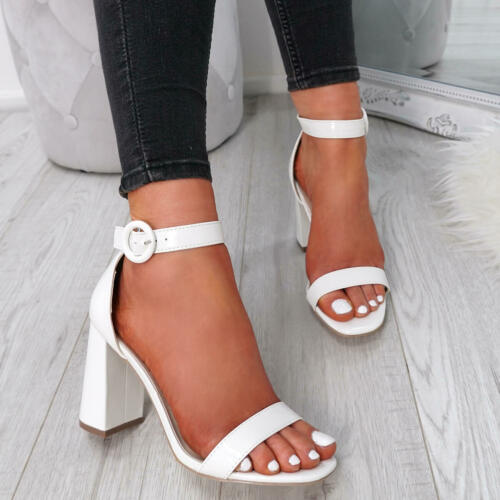Rose Gold Shimmer Glitter Cheville Sangle Haut Bloc Sandales talons Taille Chaussure