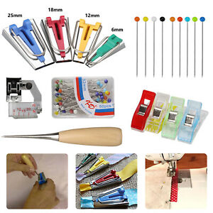 60Pcs-Bias-Tape-Maker-Kit-Set-for-Sewing-Quilting-Awl-amp-Binder-Foot-Case-Tool-US