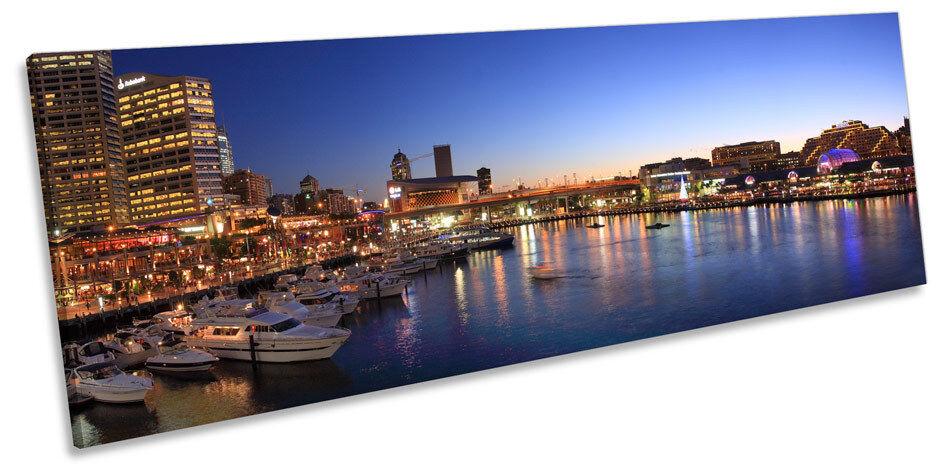 Sydney Darling Harbour Panorama CANVAS WALL ART ART ART Framed Print b146bd