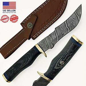 Custom Handmade Damascus Steel Hunting Skinner Wood Handle Knife/Leather Sheath