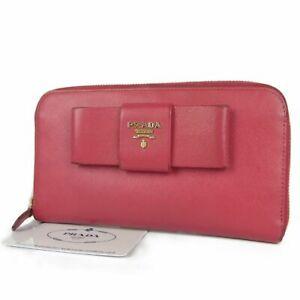 d6ba969d6bd043 Auth PRADA Logos Bow Ribbon Saffiano Leather Zip Around Long Wallet ...