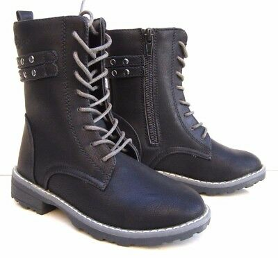 GIRLS FAUX LEATHER BOOTS ZIP LACES WARM FUR WINTER MILITARY BLACK SCHOOL SHOES