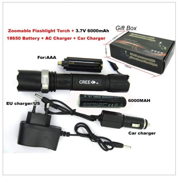 TORCIA CREE XR-E Q5 LED LED LED Kit carica Zoom 2000 Lumen e batteria 18650 7f0e28