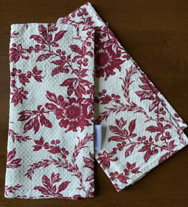 April Cornell Kitchen Towels Red Floral Toile Textured Felicity 19x27 Set 2 NEW