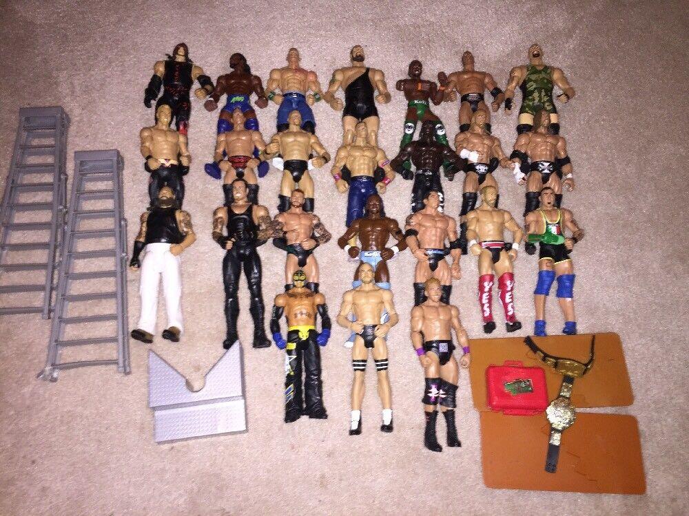 WWE Mattel Lote 3 de 24 figuras de lucha de elite, Flashback, básico, WCW, ECW