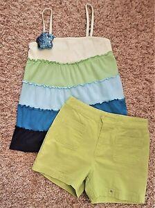 3182d064fec9a Details about 2pc LOT Size 10 Girls JUSTICE & Copper Key SHIRT TOP/SHORTS  Blue Green SUMMER