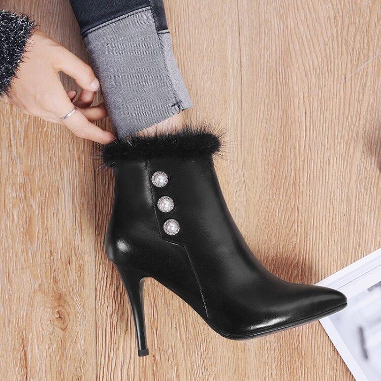 Femme Vogue cuir bout pointu Perles vison cheveux Bottines à Talon Haut Chaussures EK
