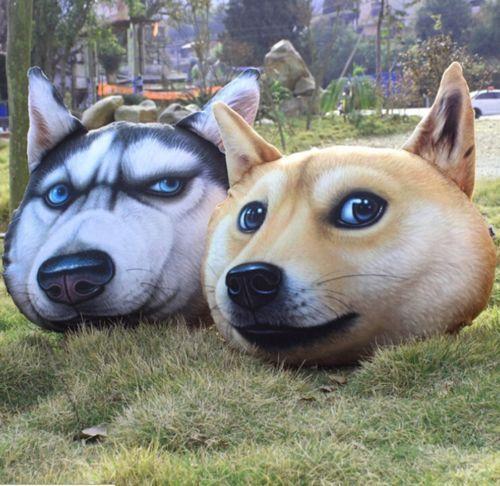 Dog Husky Head Pillow Cushion Toys Plush Cotton Stuffed Doll Funny Gift Cool