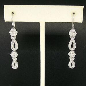 14k-White-Gold-amp-Diamond-Long-Dangle-Earrings-Pave-Ribbons-amp-Flower-Clusters