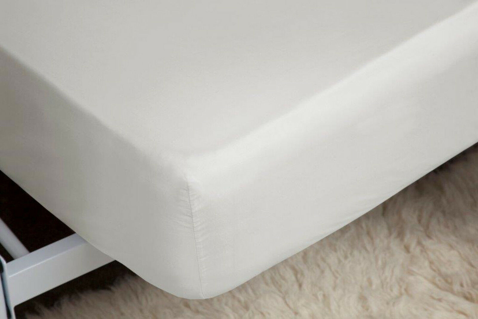 400 Thread Count Single Ply Egyptian Cotton Superking Deep Fitted Sheet in Ivory