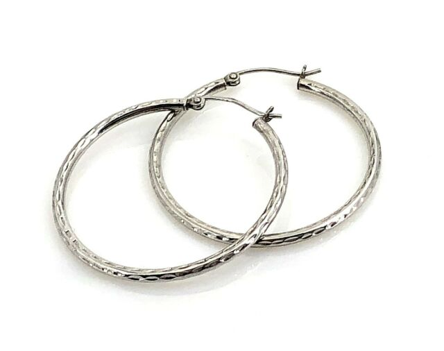 Sterling Silver Diamond Cut 35mm Round Hoop Earrings