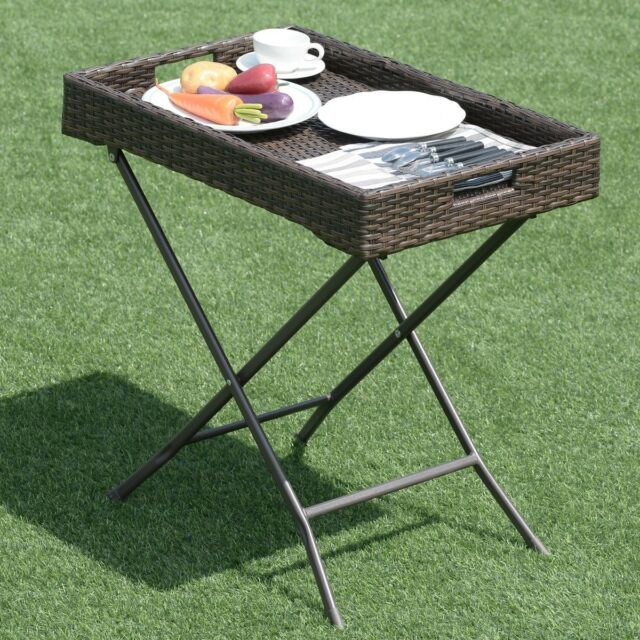 28 foldable brown rattan tray table serving garden portable outdoor