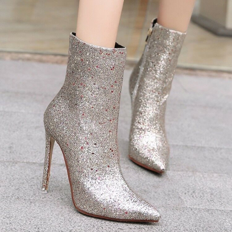 Womens Glitter Paillette Pointy Toe Stiletto Slim High Heels Prom Ankle Boots