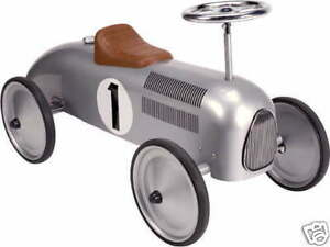SILVER-RETRO-CLASSIC-VINTAGE-RIDE-ON-TRADITIONAL-STEEL-METAL-TOY-CAR-baby-gift